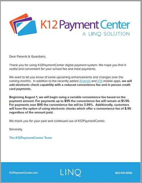 Change to K12 payment Center